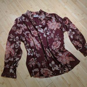 Burgandy floral blouse